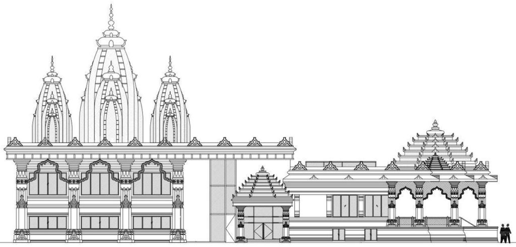 2D DRAFT rendering of the proposed west facing vedic temple view